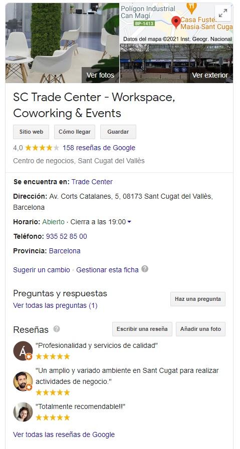 Consigue reseñas en Google My Business para tu empresa, sctradecenter.es